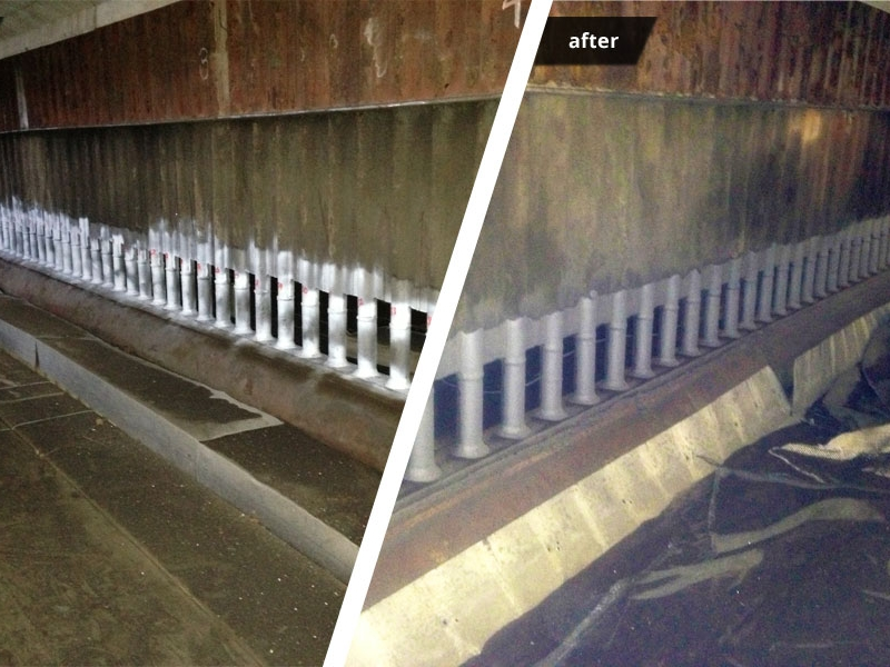 Header Piping - before & after