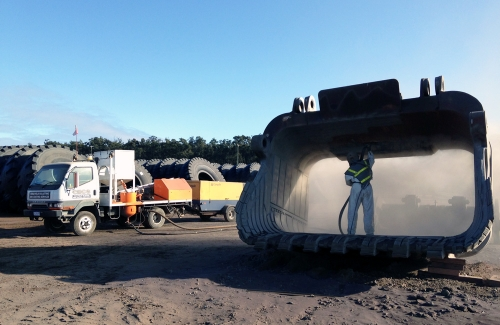 Our Mobile Open Air Blasting Unit is for larger projects where items are too big to be placed in a controlled blast room and therefore cannot be worked on in a dust-free environment.